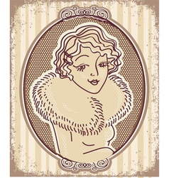 Vintage woman portrait with retro frame vector