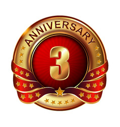 3 anniversary golden label with ribbon vector image vector image