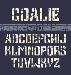 Stencil plate sans serif font in the sport style vector image
