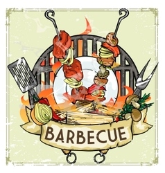 Bbq grill label design - with vector