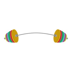 Athletic barbell with a bent neck colored weight vector