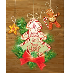 Holiday greeting card with xmas gingerbread vector
