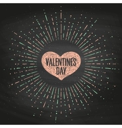 Black chalk board romantic set greeting card with vector