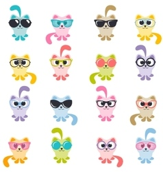 Set of colorful cats with sunglasses vector