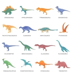 Dinosaurs colored isolated icons set vector