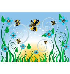 Blue flowers and butterflies vector image