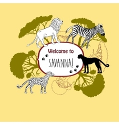 Background with savanna animals-03 vector