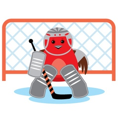 Bird is a hockey goalkeeper vector image