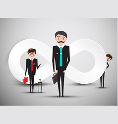 Businessmen with infinity symbol vector