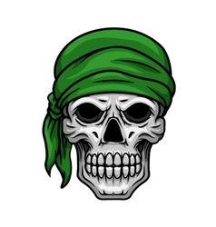 Cartoon skull in green bandana vector image