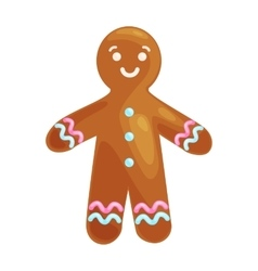 Christmas cookies smiling gingerbread man vector