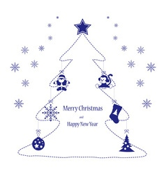 Christmas toys blue on the tree vector image vector image