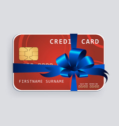 Credit card with blue bow and ribbons vector