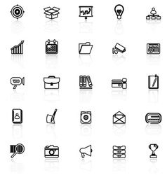 Data and information line icons with reflect on vector