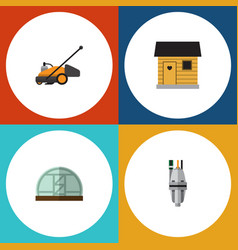 Flat icon farm set of lawn mower stabling vector
