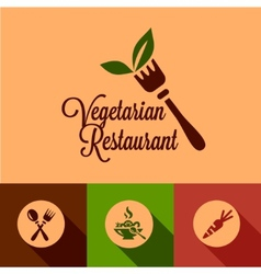 Flat vegetarian restaurant icons set vector