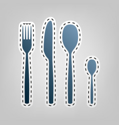 Fork spoon and knife sign blue icon with vector