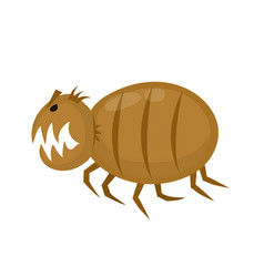 Funny angry flea pets parasite flat vector