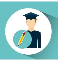 Graduate student man pencil icon vector