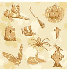 Halloween objects handdrawn vintage vector image vector image