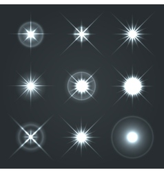 Light glow flare stars effect set 2 vector