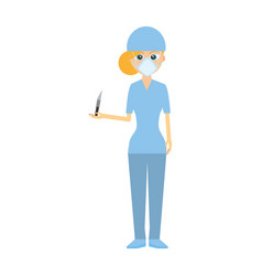 Nurse staff scalpel and mask medical vector
