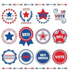 Red and blue Vote America emblems and badges set vector image