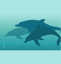 Silhouette of dolphin on the ocean landscape vector