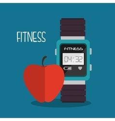 Smart watch apple cartoon fitness sport vector