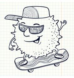 Sun character on the skate vector