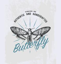 tee print butterfly hawk moths or animal t-shirt vector image