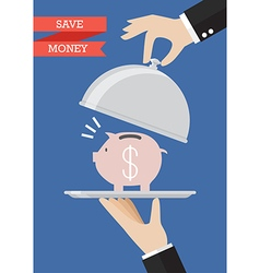 Waiter serving a piggy bank vector image