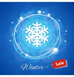 Winter Sale Banner with Snowflake on Blue vector image vector image