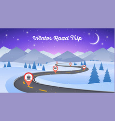Winter snowy landscape with winding road pathway vector
