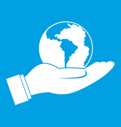 World planet in man hand icon white vector