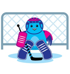 Bird is a hockey goalkeepe vector image