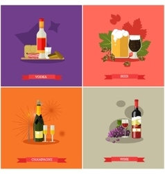 Set of alcoholic beverages flat design vector