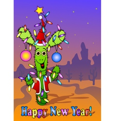 New year card with cactus vector