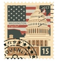 Stamp with us capitol vector
