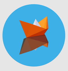 Orange paper boat with the reflection vector