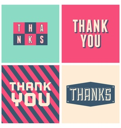 Retro design thank you greeting cards in pink vector