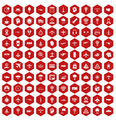 100 aviation icons hexagon red vector