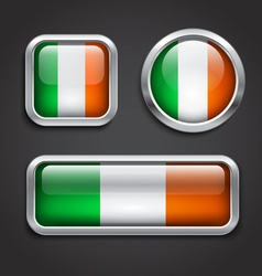 Ireland flag glass buttons vector