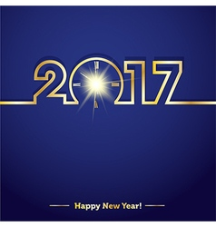 2017 happy new year with creative midnight clock vector