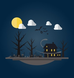 Flat design of spooky house vector
