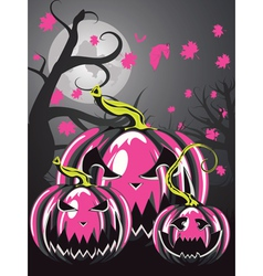 Scary pumpkins in forest3 vector
