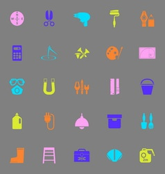 Diy tool color icons on gray background vector