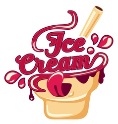 Kawaii lettering Ice Cream vector image
