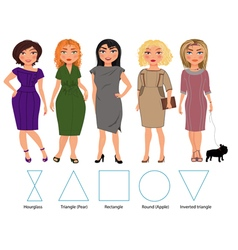 Five figures bussiness dresses vector