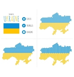 Ukraine map in 3 styles vector